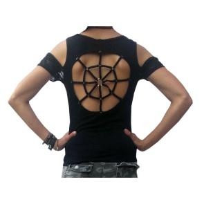 Gothic Frauen Shirt Spinnen Netz Rücken