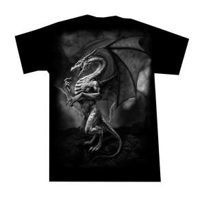 Gothic T Shirt Blitz Drache Grau