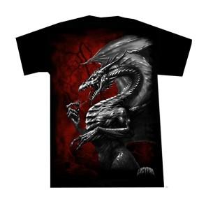 Gothic T Shirt Blitz Drache Rot