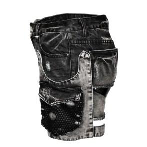 Stonewash Frauen Jeans Shorts Mit Holster Tasche