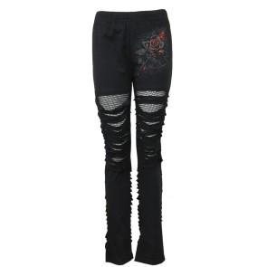 Burnt Rose -gothic Leggings Mit Netz