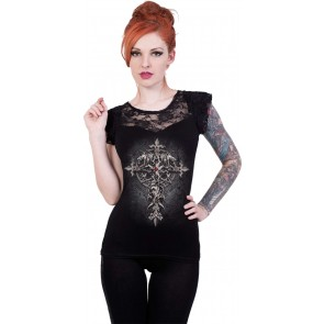 Custodian Sleeveless Lace Top Black