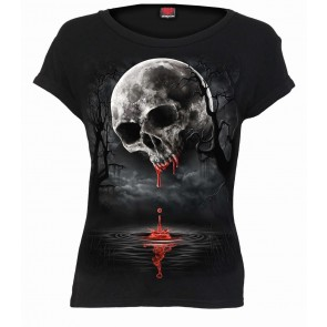 DEATH MOON - Boatneck Cap Sleeve Top Black