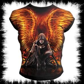 Flaming Angel Allover Cap Sleeve Top Black