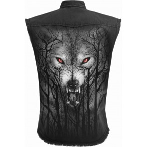 FOREST WOLF - Sleeveless Stone Washed Worker Black