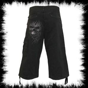 Heavy Metal Shorts Drei Viertel Grauer Totenkopf