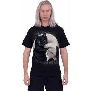 YIN YANG CATS - Front Print T-Shirt Black
