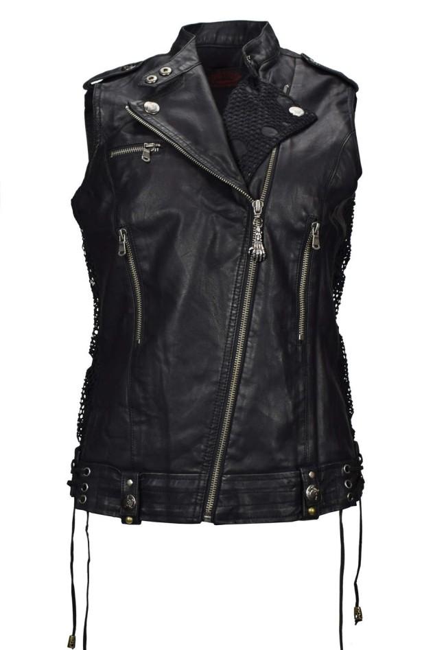 Veste faux cuir femme noir